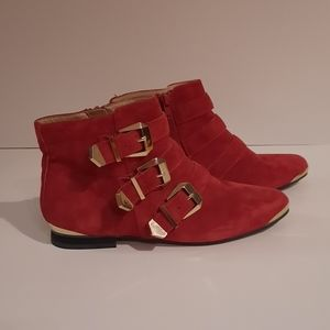 ALDO Red Suede Gold Buckle Ankle Booties Size 6